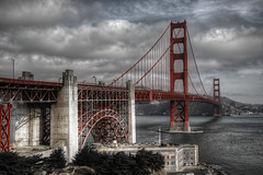 Unknown Red Bridge (Rik Tiggelhoven Travel Photography) Tags: golden gate bridge san francisco art deco national park service nps clouds dramatic california usa america amerika hdr selective colors canon 6d fullframe longexposure long exposure ef24105mmf4lisusm rik tiggelhoven travel photography building architecture