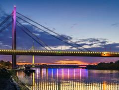 Sava-River-Belgrade-New-Railway-and-Ada-Bridges-4 (Predrag Mladenovic) Tags: belgrade sava river ada bridge newrailway gazela sunset twilight reflections citylights