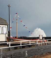 Sea spray 2 (philbarnes4) Tags: water spray sea broadstairs thanet kent england boat mast bunting coast view dslr philbarnes