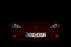 In The Dark - 2004 MX-5 (Blaž Zagorec) Tags: mazda mx5 mx roadster cabrio convertible red black 18 1840 vvt croatia road miata sparco nb nbfl mk2 mk25 nb8 front headlights normally aspirated mazdamiata mazdaroadster drop top eunos engine car cars auto automobile jdm wheels rims 16 sport svt i4 inline four outdoor canon 550d 50mm stm mountains velebit daily dailydriver driver longlivetheroadster mx5club zoomzoom jap carlife rwd mazdaspeed clean lowered coilovers bilstein b14 6speed savethemanuals gripmiata import
