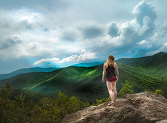 Looking to the Hills (NathanJNixon) Tags: sunny landscape cloudy northcarolina mountains hillside person hills lady hike clouds hiking trees blue girl unitedstates bright montreat usa woman afternoon sky green america blackmonutain blackmountain valley us