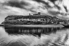 Whitby - Dracula's Landing (Andrew Brammall Photography) Tags: whitby tatehillsands harbour dracula halloween stmaryschurch whitbyabbey reflection seaside oldtown beach bramstoker vampire stormy blackandwhite