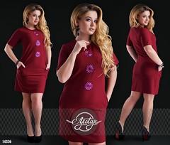 Легкое платье с рукавом и нашивками цветов большого размера бордовое (arrkareeta) Tags: