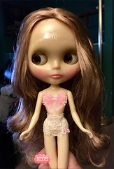 """Finally! 💝 Boiled the front sections only of Joys hair and set with Velcro curlers which gave me a soft wave minus those annoying """"box"""" kinks.  She's presentable at last! (Painters Life) Tags: boilperm 16thanniversaryblythe translucent blythe gardenofjoy mollymoultthan mollymoult"""