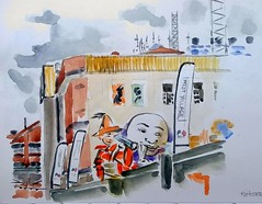 2017-10-07 Peters Ice Cream Factory, from Mollison Street (jaguarish) Tags: boh sketch