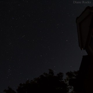 I managed to capture the colour of a shooting star. Shot at 8sec. Best viewed large as it's small.