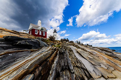 Pemaquid Point Lighthouse (briburt) Tags: briburt maine nikon d90 sigma1020 wide angle energy coast sea ocean atlantic water rock rocky cliffs motion clouds blue sky lighthouse maritime coastal dramatic vibrant