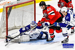 Rookie Goalie (Scottwdw) Tags: ahl americanhockeyleague binghamton crunch devils icehockey newyork onondagacounty pro professional sports syracuse warmemorial unitedstatesofamerica nikon d500 nikon70200mmf28vrii goalie save puck skates sticks