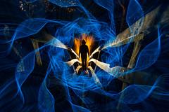 Coriolis.  3/52. (FadeToBlackLP) Tags: lightpainting lpuk longexposure padleygorge peakdistrict blue orange hot cold silhouette man uk lightart abstract