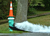 Purge (jcdriftwood) Tags: purge firehydrant pressure release water wet street sidewalk cone pylon open fireplug flood motion volume cap spray
