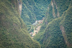 A look down from Macchu Picchu to the little village below called Augas Calientes.
