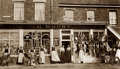 Shoeburyness (footstepsphotos) Tags: cambridge town post office shoeburyness essex butcher shop people bicycle whent store shopkeeper old vintage seaview road historic business history advertising