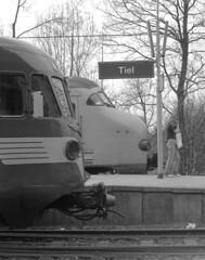 station Tiel (peter.velthoen) Tags: negatief nsplanv tiel nederland allan de1 nederlandsespoorwegen vormen ontwerp zwartwit blackandwhite monochrome ilfordfp4 amaloco trein treinen pociag zug bahnhof triebzug stacja neg01379