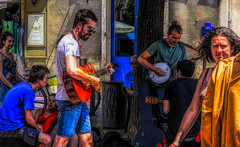 Music men in Die - France (Bobinstow2010) Tags: music guitar france die town rhone alps 2017 banjo instrument street market arty topaz photoshop people male female colour color painting