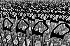 handles (heinzkren) Tags: schwarzweis blackandwhite monochrome shopping muster pattern ikea scs ricoh cart caddy buggy einkaufswagen griffe parkplatz park parking linien trolley