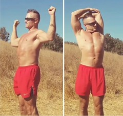 shoulder stretching (ddman_70) Tags: shirtless muscle pecs abs outdoors hiking short shorts stretching