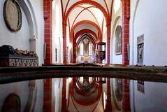 Church in the mirror (roomman) Tags: 2017 germany bendorf sayn bendorfsayn rlp rheinland pfalz rheinlandpfalz mittelrhein rhein rheintal sayntal brex brexbachtal brexbach valley low deep green forest hike hiking active walk walking sport sports abtei abbey church old holy building reflection mirror baptise baptism inside trail nature natur landscape landschaft