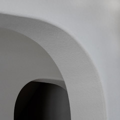 off-balance curves (MyArtistSoul) Tags: thick interior walls openings round edges intersecting curves gentlelight dark shadow hole monochrome simple minimal soft texture square 3413
