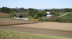 Eastbound During The Harvest (DJ Witty) Tags: emd dieselelectric freight locomotive railroad rr sd402 sd45 marylandmidland geneseewyoming