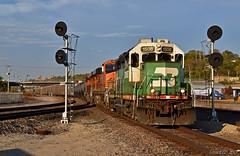 "Southbound Local in Kansas City, MO (""Righteous"" Grant G.) Tags: bnsf railway railroad locomotive train trains bn burlington northern ns norfolk southern south southbound local transfer kansas city missouri searchlight signal"