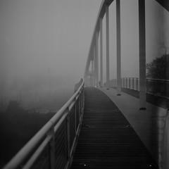 """""""La poésie...  (""""Poetry...) (l'imagerie poétique) Tags: limageriepoétique poeticimagery passerelle bridge filmblackandwhitefilm bronicasqa80mmf28 fomapan100 selfdeveloped brûme morningfog autumn"""