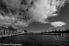 Harbour (vmonk65) Tags: fischauktionshalle hafenhamburg weitwinkel nikond810 nikon bw blackandwhite blackwhite sw sky himmel water wasser elbe river fluss