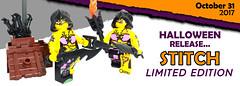 Halloween 2017 - Stitch Minifigure (BrickWarriors - Ryan) Tags: lego brickwarriors minifigure limited edition custom printed stitch halloween boo pumpkin rogue hood dragon sword katar dagger accessories