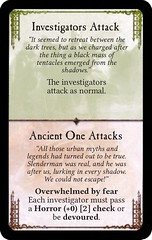 """Slenderman"" Plot Card 1/3 - Arkham Horror Great Old One, front side (dizzyfugu) Tags: slender slenderman urban myth horror child abduction lovecraft cthulhu arkham great old one servant race monster board game epic dizzyfugu strange eons"