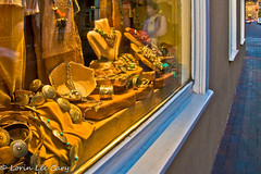 Temptation (lorinleecary) Tags: belts silver shopwindow newmexico necklaces santafe church jewelrystore