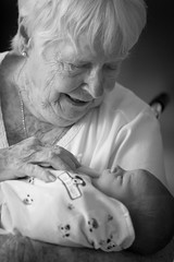 Meeting Granny (MrLoveland) Tags: blackandwhite blackwhite portrait people newborn infant baby love mono monochrome grandmother grandchild