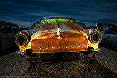 Up Front About It (dejavue.us) Tags: lightpainting longexposure lincoln nightphotography nikon junkyard d800 180350mmf3545 car abandoned fullmoon mojavedesert nikkor automobile california vle