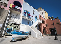 Procida 01 (arsamie) Tags: procida napoli italia colors port harbor boat stairs laundry street blue pink sea mediterranean sun summer