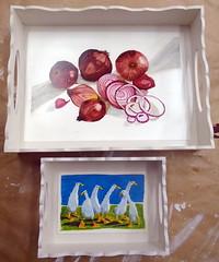 Bandejas com aquarela e vidro líquido - Maria Celia e hj - DSC01867-001 (Dona Minúcia) Tags: art painting caixinha bandeja vidrolíquido aquarela decoupage gansos cebola geese onion watercolor