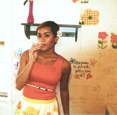Terra smoking-2, 2015 (STUDIOZ7) Tags: woman girl smoking smoker cigarette housewife homemaker retro vintage apron flowers