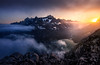 From the Summit (One_Penny) Tags: adventure arctic canon6d greenland hiking landscape mountains nature northpole outdoor photography phototour travel summit peak viewpoint ice iceberg sun sunlight sunset sundown colors colorful light rocks fjord water river evening clouds sky scenery scenic abovetheclouds