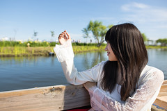 Young woman sightseeing on boat (Apricot Cafe) Tags: img39603 asia asianandindianethnicities irisfamily japan japaneseethnicity japaneseculture katoricity sawarakatori sigma20mmf14dghsmart suigosawaraayamepark beautifulwoman blackhair boat botanicalgarden breezing candid carefree charming cheerful chibaprefecture colorimage copyspace cultures day enjoyment flower happiness irisplant lifestyles longhair nature oneperson onlyjapanese onlywomen onlyyoungwomen outdoors people photography pond publicpark purity relaxing sideview sky smiling sustainablelifestyle toothysmile tourism tourist traveldestinations waistup women youngadult