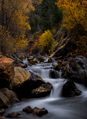 stream - Big Cottonwood Canyon - 10-16-07  01c (Tucapel) Tags: bigcottonwoodcanyon saltlakecity utah autumnleaves autumn stream longexposure