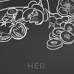 Chalk vegetables with copyspace on chalkboard (Hebstreits) Tags: above agriculture background black chalk chalkboard collection concept cooking copy country crop drawing food fresh garden green harvest healthy kitchen layout line lineart market marketplace organic product sketch space spring stroke summer text tomato vegetable vegetables vegetarian young zucchini