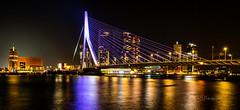 Rotterdam by night (K&S-Fotografie) Tags: bridge rotterdam long exposure night color nacht wasser brücke reflektion himmel reflection wolkenkratzer