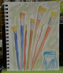 Paintbrushes & Jar (BKHagar *Kim*) Tags: bkhagar art artwork journal artjournal watercolor watercolors notebook drawing painting 2minutedrawing