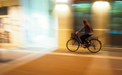 Then next turn left (kallchar) Tags: panning bicycle streetphotography nighttime
