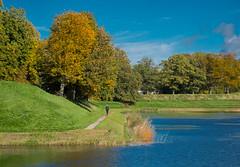 Waterside Walking (bjorbrei) Tags: water shore moat canal ramparts grass park trees fall autumn walking strolling pathway walkway gamlebyen oldtown fredrikstad norway