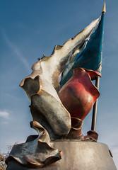 Resistance Flag Monument in Prague DSC_0540 (troy david johnston) Tags: prague praha czechrepublic czechia troydavidjohnston europe malástrana architecture monument sculpture art statue resistanceflag flag