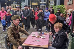 Rules of engagement (f22photographie) Tags: steampunkevent teadualling crowds watching havingagoodtime tea cupoftea biscuits fun smiling crichtramwaymuseum dayout upforalaugh fancydress goggles hats costumes expressions