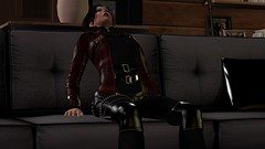 No room for dessert (alexandriabrangwin) Tags: alexandriabrangwin secondlife 3d cgi computer graphics virtual world photography home sitting couch after dinner bloated full overdid meal moaning leaning back relief shiny gothic jacket raspberry cobra leather panels straps gold buckles silver spikes woman dark evening