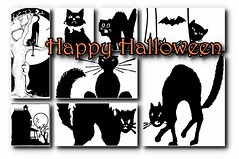 Halloween (catAsmith) Tags: halloween cat cats black blackcat illustration postcard card free freeuse