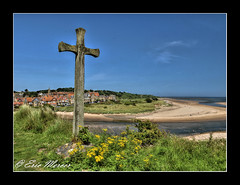 Alnmouth from St Cuthberts Cross (ScreamingSkulls) Tags: landscape alnmouth northumberland coast stcuthbert cross sand town houses scene sky blue green flowers wood wind sunlight canoneos760d 760d eos canonefs1855mmislens canonefs1855mmf3556is hdr photomatix lightroom photoshop