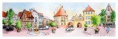 Colmar - Alsace - France - pl. des six montagnes noires (guymoll) Tags: googlestreetview colmar alsace france croquis sketches panoramique panoramic sixmontagnesnoires aquarelle watercolour watercolor