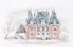 Château de Beaurepaire, Chanceaux-près-Loches, Indre-et-Loire, France, (Linda Vanysacker - Van den Mooter) Tags: visiblytalented vanysacker vandenmooter tekening sketch schets potlood pencil lindavanysackervandenmooter lindavandenmooter drawing dessin croquis crayon art kasteel château castle manoir frankrijk france