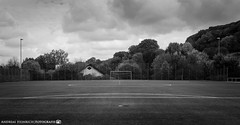 At the football field. (andreasheinrich) Tags: landscape footballfield bushes forest afternoon autumn october blackandwhite blackandwhitephotos overcast moody germany badenwürttemberg neckarsulm dahenfeld deutschland landschaft fussballplatz büsche wald nachmittag herbst schwarzweis bewölkt düster nikond7000